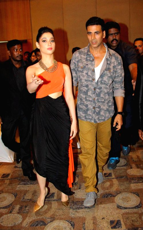 Actor Akshay Kumar and Tamannaah during the promotion of film Entertainment in Bengaluru on August 5, 2014. - Akshay Kumar