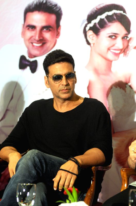 Actor Akshay Kumar during a press conference to promote his upcoming film `Entertainment` in New Delhi on Aug 7, 2014. - Akshay Kumar
