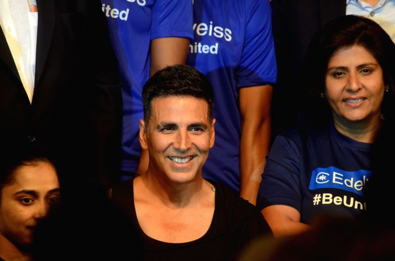 Actor Akshay Kumar during a programme organised to extend best wishes to the athletes who will be representing India in the upcoming 18th Asian Games; in Mumbai on July 28, 2018. - Akshay Kumar