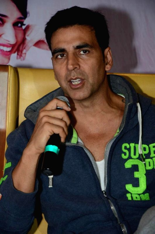 Actor Akshay Kumar during his film `Entertainment` promotional press meet in Hyderabad on Aug 4, 2014. - Akshay Kumar