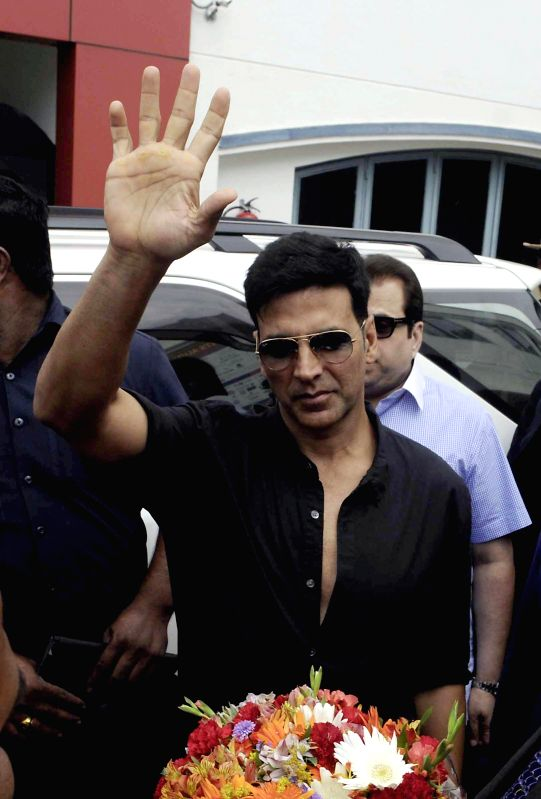 Actor Akshay Kumar during promotion of their upcoming film 'Entertainment' in Bangalore on Aug 4, 2014. - Akshay Kumar