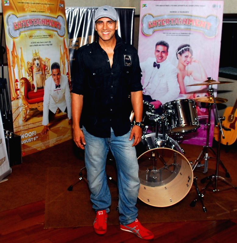 Actor Akshay Kumar during recording of a song for his upcoming film `Entertainment` at a studio in Mumbai on July 23, 2014.