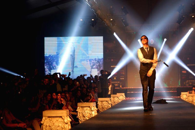 "Actor Akshay Kumar walks the ramp for fashion designer Ramesh Dembla at the opening of the ""India Luxury Style Week"" Men's Edition 2017 in Bengaluru, on May 25, 2017. - Akshay Kumar"