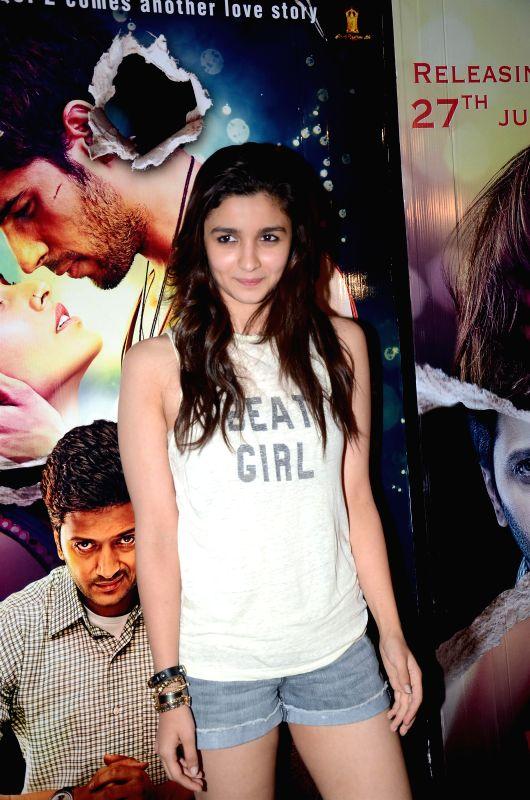 Actor Alia Bhatt during the special screening of upcoming movie Ek Villain in Mumbai on June 25th, 2014. - Alia Bhatt