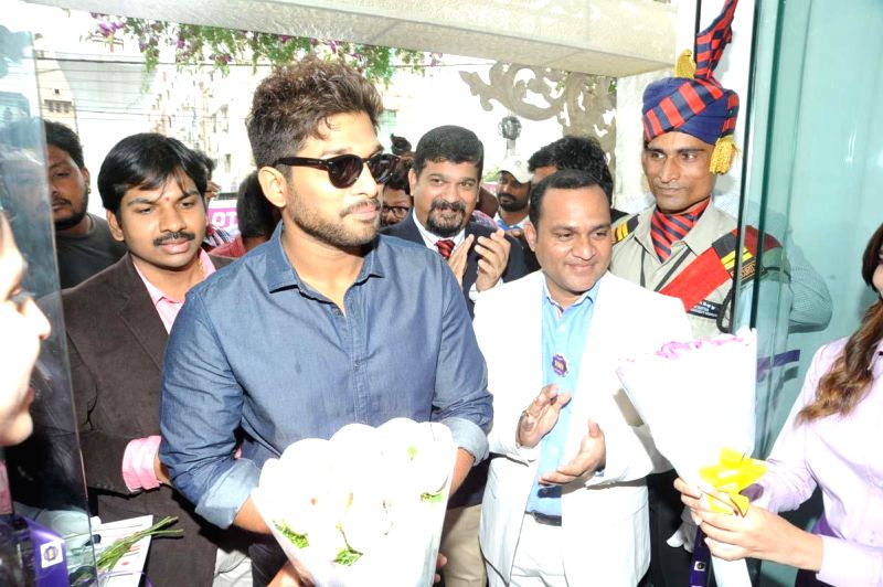 Actor Allu Arjun during inauguration of LOT show room at Madhapur in Hyderabad on August 02, 2014.