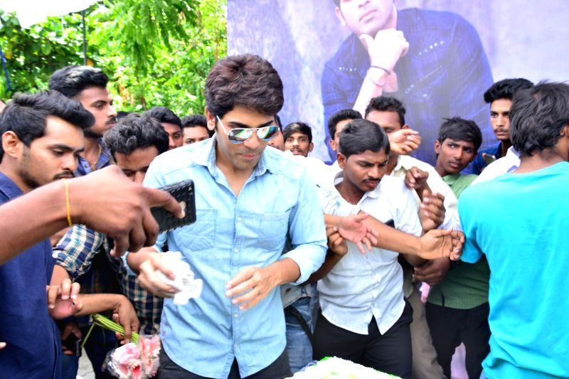 Actor Allu Sirish during his birthday party celebrations, on Hyderabad, May 29, 2017. - Allu Sirish