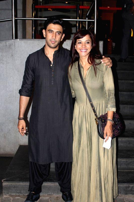 Actor Amit Sadh and singer Manasi Scott  during the screening of film Sarkar 3 in Mumbai on May 11, 2017. - Amit Sadh