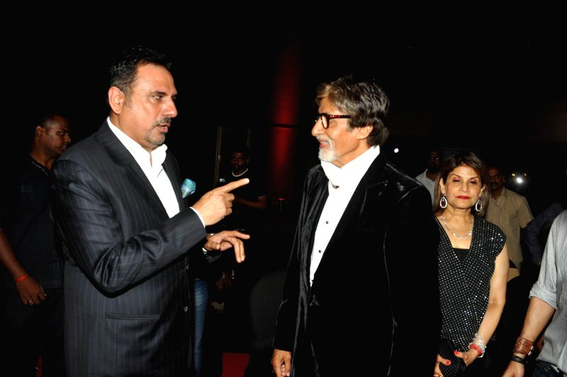Actor Amitabh Bachchan and Boman Irani during the success party of movie Bhootnath Returns in Mumbai on April 16, 2014. - Amitabh Bachchan and Boman Irani