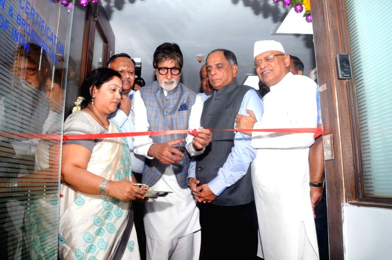 Actor Amitabh Bachchan and CBFC chairman Pahlaj Nihalani during inauguration of new office premise of the Central Board of Film Certification in Mumbai on April 4, 2017. - Amitabh Bachchan