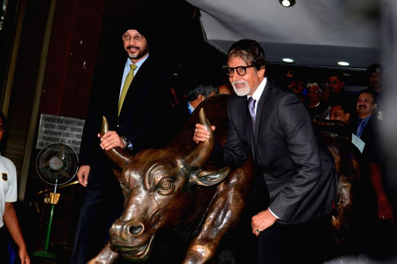 Actor Amitabh Bachchan at Bombay Stock Exchange in Mumbai on June 17, 2014.