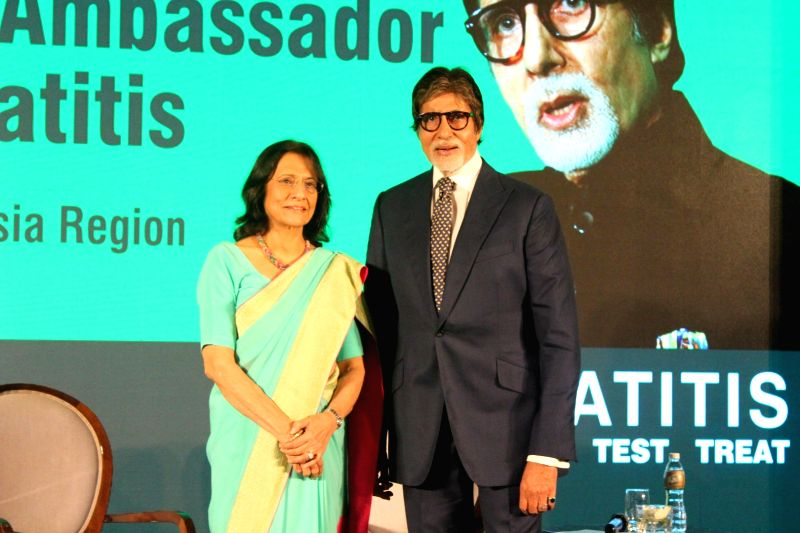Actor Amitabh Bachchan during a Hepatitis awareness programme in southeast Asia region; in Mumbai on May 12, 2017. Amitabh Bachchan, a Hepatitis B conqueror appointed the WHO Goodwill ... - Amitabh Bachchan