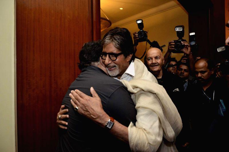 Actor Amitabh Bachchan during the launch of Prem Chopra's autobiography, Prem Naam Hai Mera.. Prem Chopra, written by Rakita Nanda at JW Marriott in Mumbai on April 12, 2014. - Amitabh Bachchan