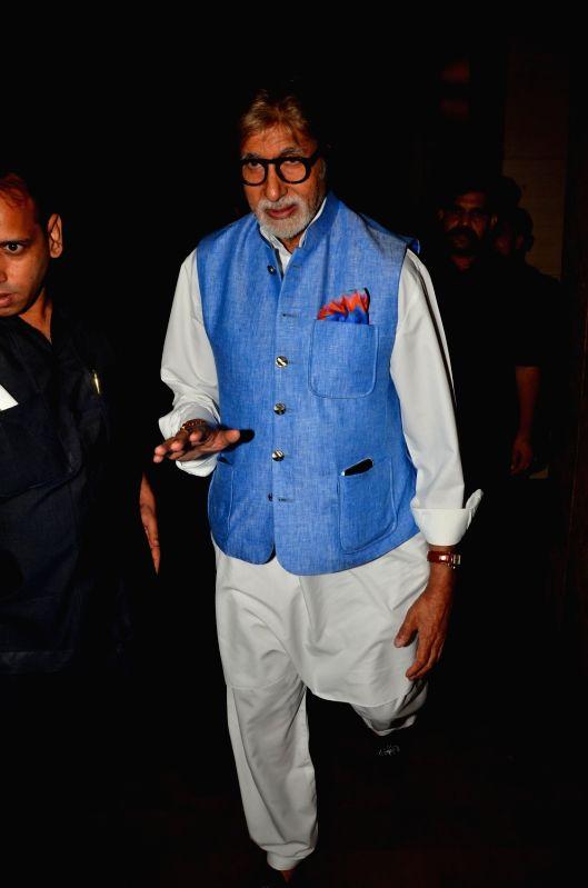 Actor Amitabh Bachchan during the screening of the film Madaari in Mumbai on July 20, 2016. - Amitabh Bachchan