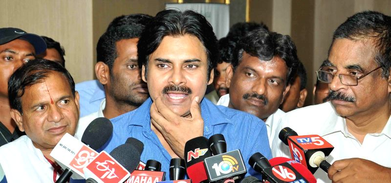Actor and founder of Jana Sena Party Pawan Kalyan talks to media after a meeting with BJP chief Amit Shah in Hyderabad on Aug 22, 2014. - Amit Shah