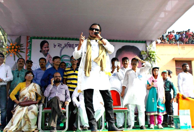 Actor and parliamentarian Mithun Chakraborty during an election campaign for Trinamool Congress  in Malda on April 18, 2014.