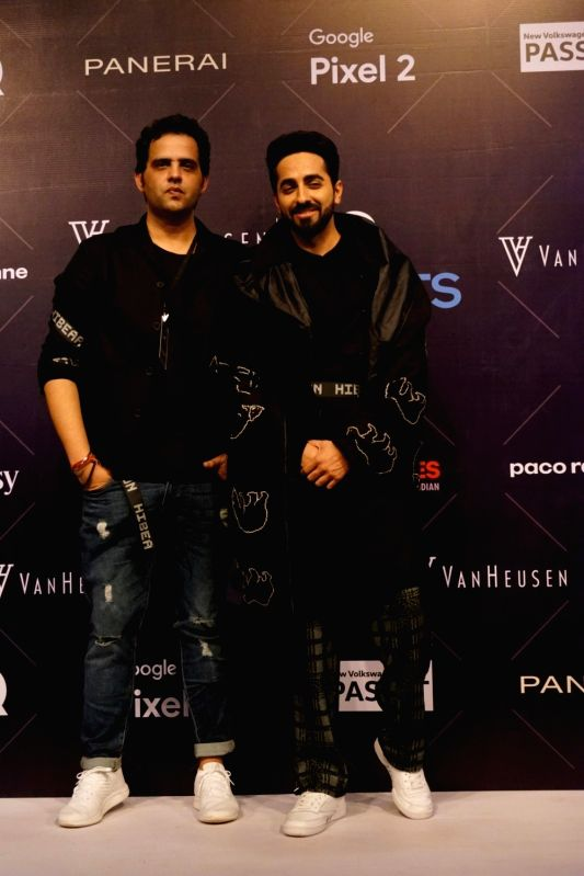 Actor and showstopper Ayushmann Khurrana along with Fashion designer Sahil Aneja during Van Heusen + GQ Fashion Nights 2017 in Mumbai on Nov 11, 2017.