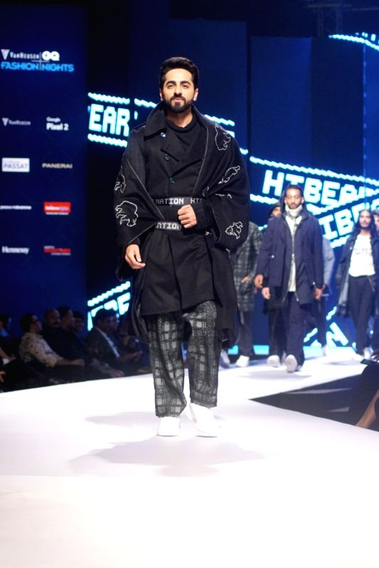 Actor and showstopper Ayushmann Khurrana during Van Heusen + GQ Fashion Nights 2017 in Mumbai on Nov 11, 2017.