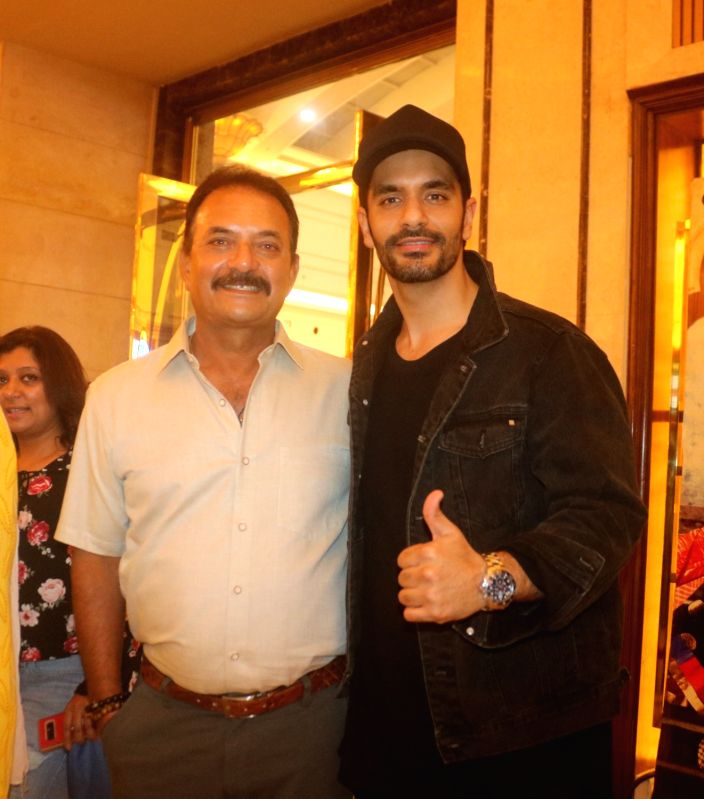 "Actor Angad Bedi and former India cricketer Madan Lal at the special screening of film ""Soorma"" in New Delhi on July 19, 2018. - Angad Bedi"