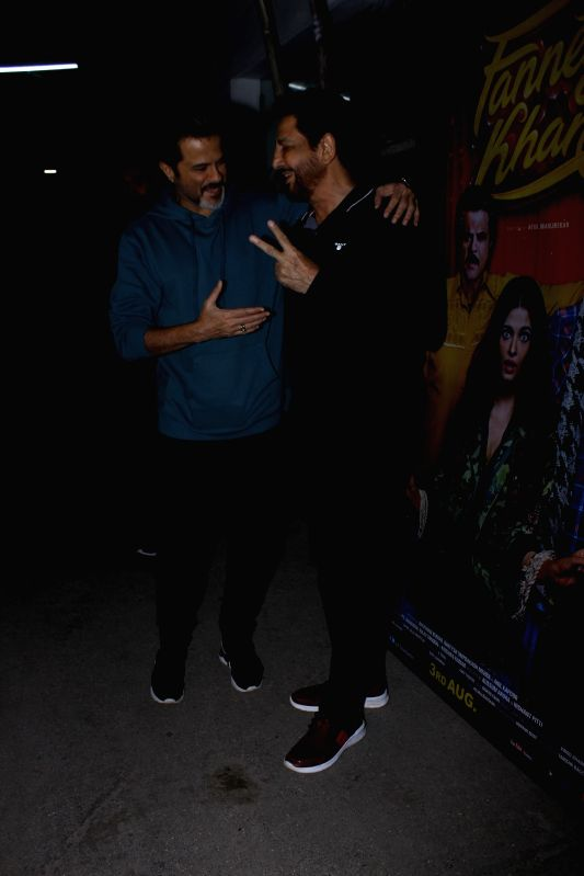 "Actor Anil Kapoor with singer Gurdas Maan at the special screening of upcoming film ""Fanney Khan"", in Mumbai on Aug 1, 2018. - Anil Kapoor and Fanney Khan"