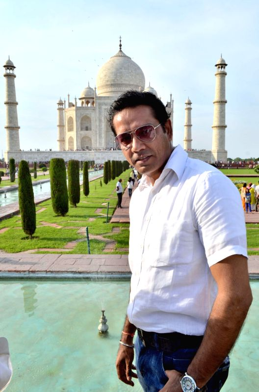 Actor Anup Soni during his visit to the Taj Mahal in Agra on July 31, 2014.
