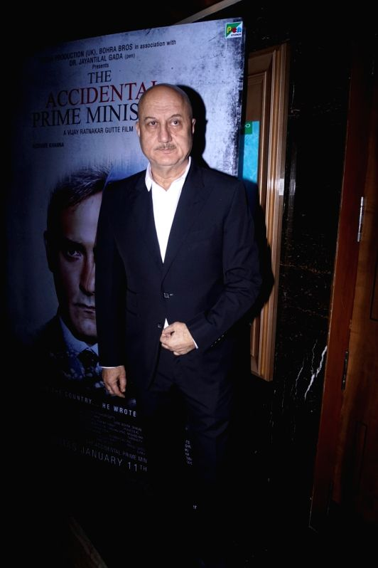 "Actor Anupam Kher at the screening of upcoming film ""Accidental Prime Minister"" in Mumbai on Jan 10, 2019. - Anupam Kher"