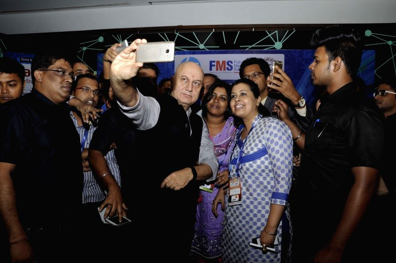 Actor Anupam Kher during a session at INFOCOM 2015 in Kolkata on Dec 4, 2015.