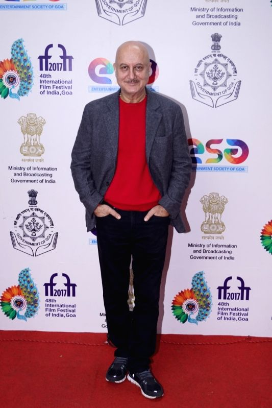 Actor Anupam Kher during the 48th International Film Festival of India (IFFI-2017) in Panaji on Nov 25, 2017. - Anupam Kher