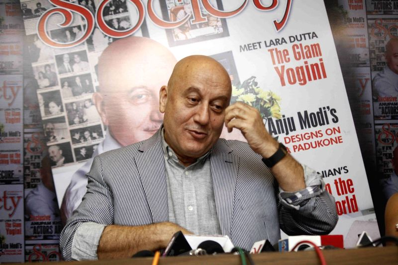 Actor Anupam Kher during the launch of Society magazine cover featuring him in Mumbai on Dec 7, 2015.