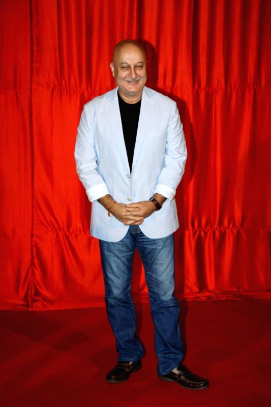 Actor Anupam Kher during the trailer launch of film Ekkees Toppon Ki Salaami in Mumbai on Aug 11, 2014. - Anupam Kher