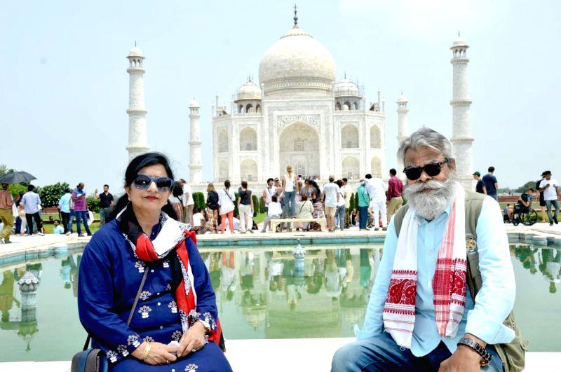 Actor Anupam Shyam visits Taj Mahal, in Agra, on July 29, 2018. - Anupam Shyam