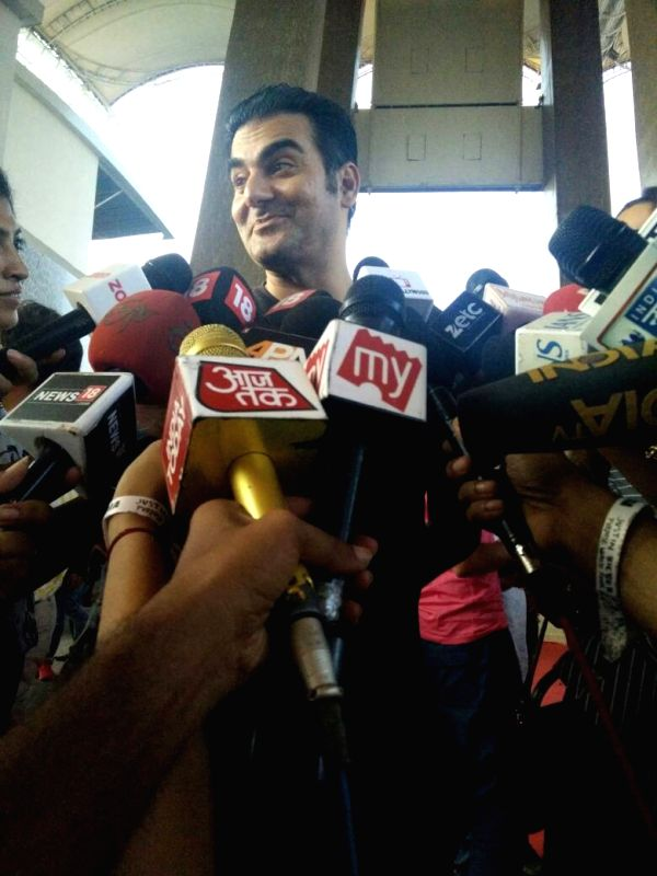 Actor Arbaaz Khan arrives to attend Justin Bieber's show at DY Patil Stadium in Mumbai, on May 10, 2017. - Arbaaz Khan