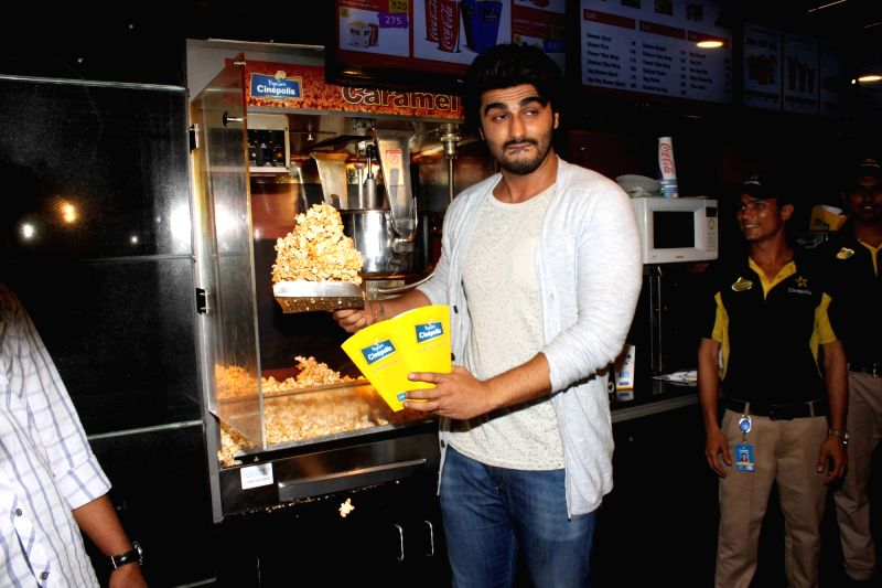 Actor Arjun Kapoor visits Cinepolis theater to see the audience reaction for his film Ki and Ka in Mumbai on April 5, 2016. - Arjun Kapoor