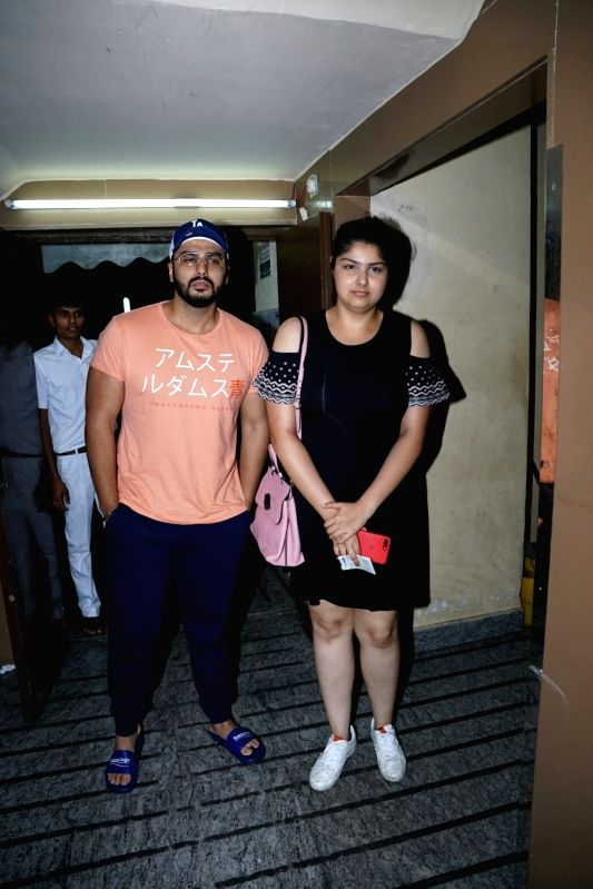 Actor Arjun Kapoor with his sister Anshula Kapoor seen at a cinema theatre in Juhu, Mumbai on July 29, 2018. - Arjun Kapoor and Anshula Kapoor