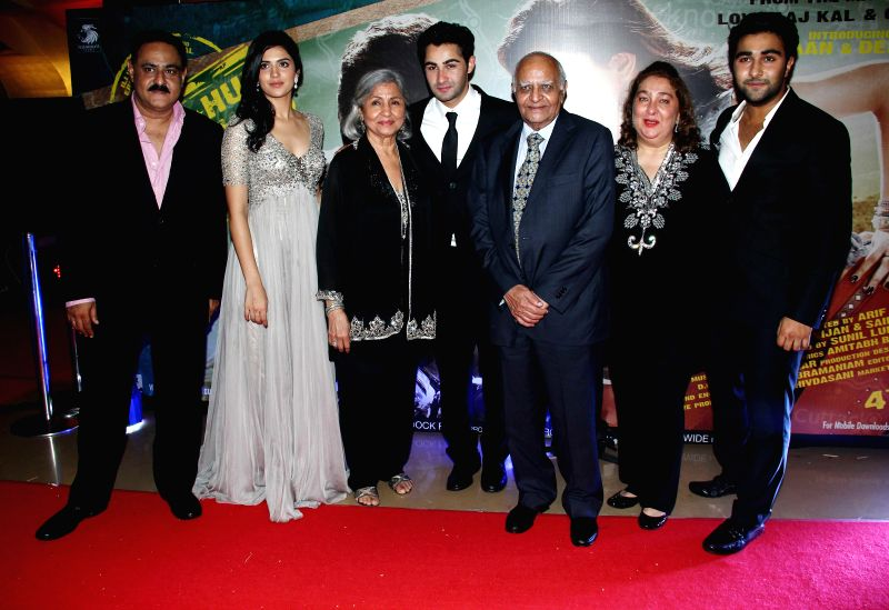 Actor Arman Jain with family during the premiere of film Lekar Hum Deewana Dil at PVR Cinemas in Mumbai, on July 3, 2014. - Arman Jain