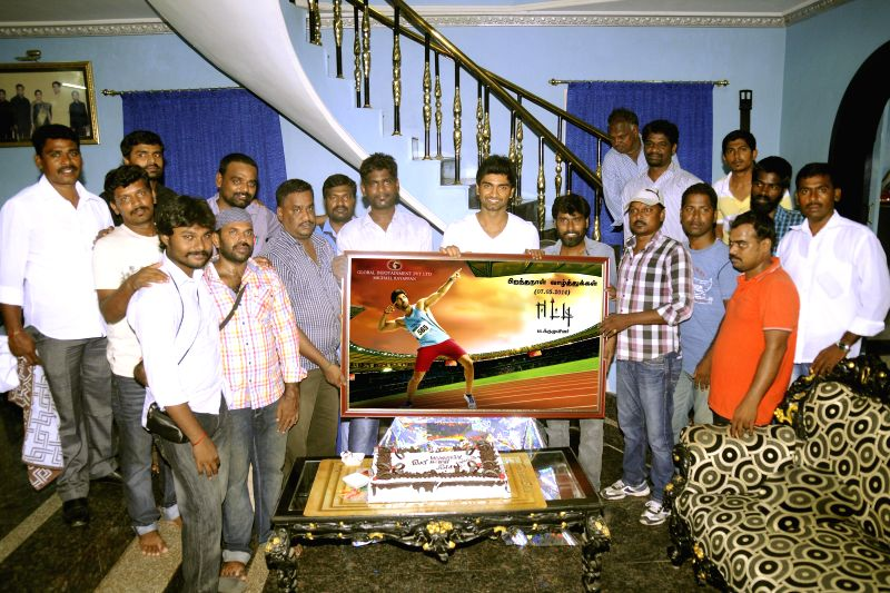 Actor Atharvaa celebrates his birthday on the sets of upcoming Tamil film 'Eetti'.