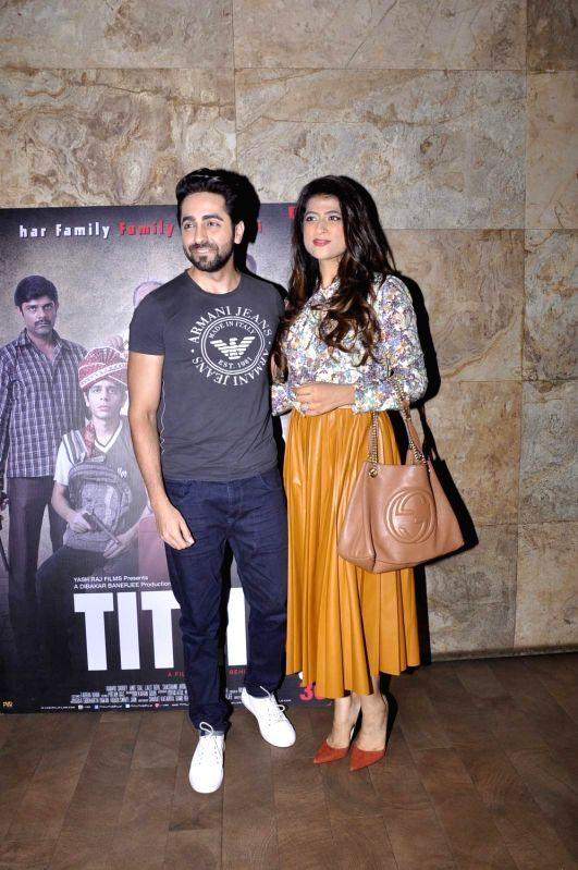 Actor Ayushman Khurana during the screening of film Titli, in Mumbai, on Oct 27, 2015. - Ayushman Khurana