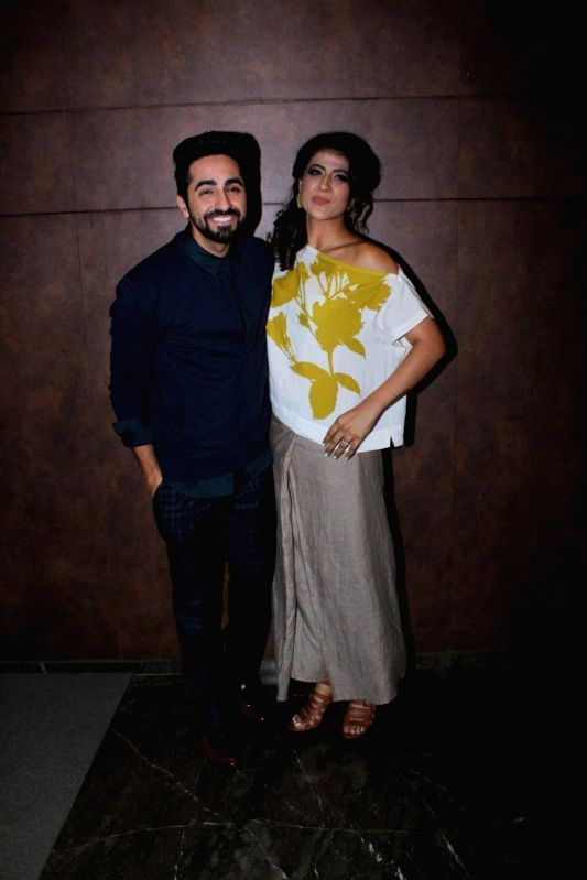 """Actor Ayushmann Khurrana along with his wife Tahira Kashyap during the special screening of film """"Shubh Mangal Savdhan"""" in Mumbai on Aug 31,2017. - Ayushmann Khurrana and Tahira Kashyap"""