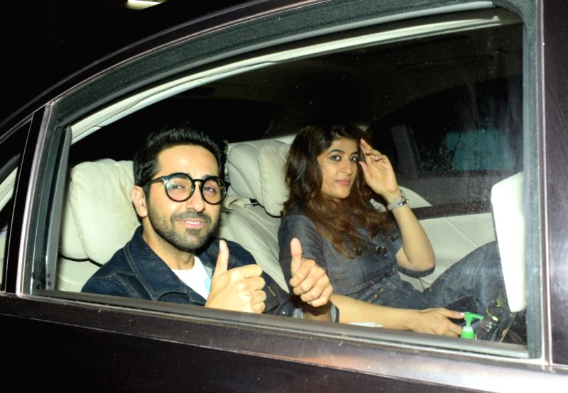 "Actor Ayushmann Khurrana along with his wife Tahira Kashyap at the special screening of film ""October"" in Mumbai on April 12, 2018. - Ayushmann Khurrana and Tahira Kashyap"