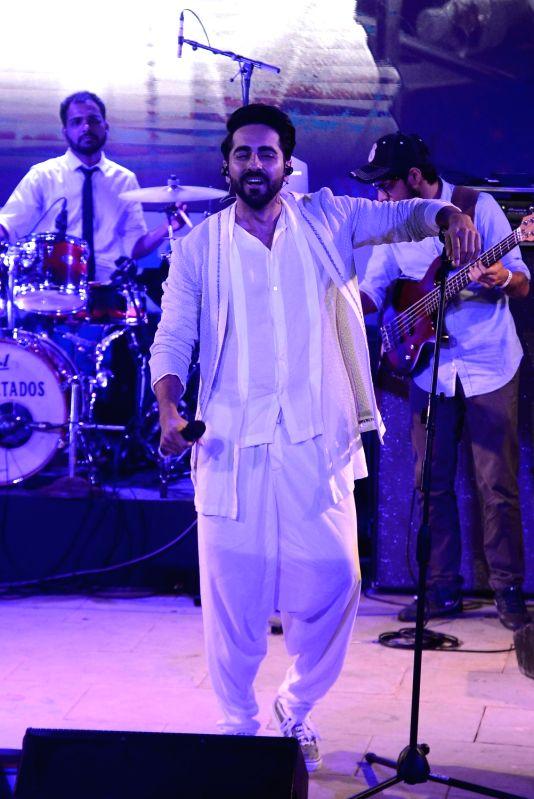 Actor Ayushmann Khurrana during film Meri Pyaari Bindu concert in Mumbai on May 6, 2017. - Ayushmann Khurrana