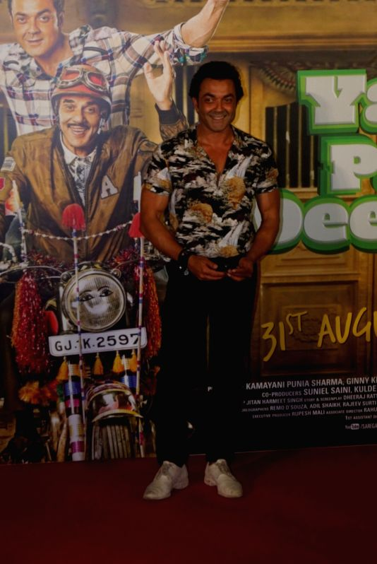 """Actor Bobby Deol at the trailer launch of his upcoming film """"Yamla Pagla Deewana Phir Se"""" in Mumbai on Aug 10, 2018. - Bobby Deol"""