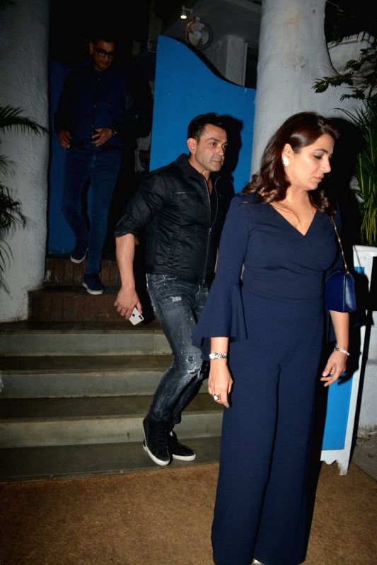Actor Bobby Deol spotted at Olive in Bandra in Mumbai on Feb 9, 2019. - Bobby Deol