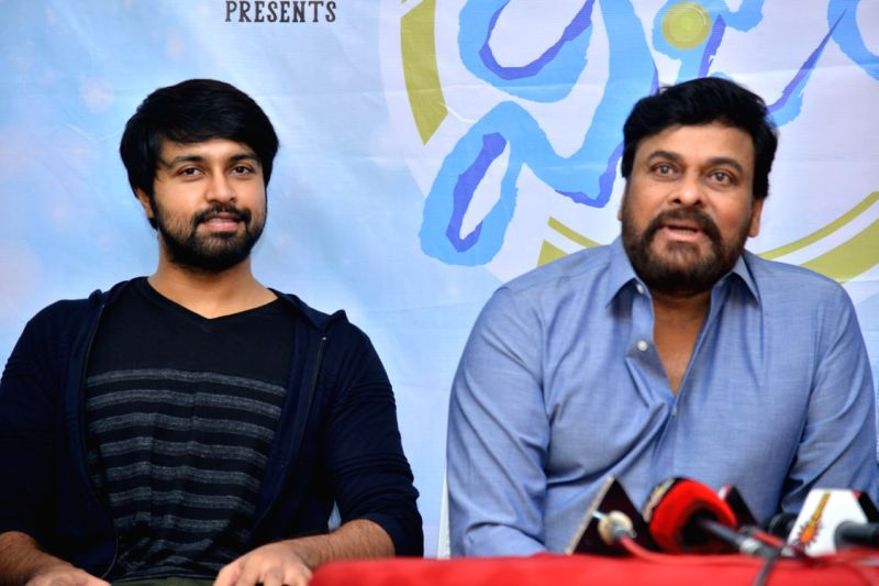 """Actor Chiranjeevi during the interview for his upcoming film """"Vijetha"""" in Hyderabad. - Chiranjeevi"""