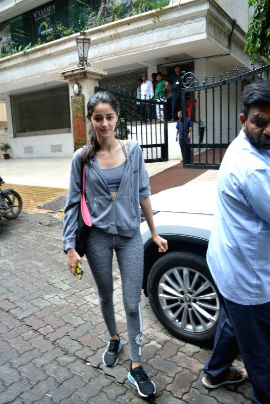 Actor Chunky Pandey's daughter Ananya Pandey  seen at Mumbai's Bandra on July 18, 2018. - Chunky Pande and Ananya Pandey