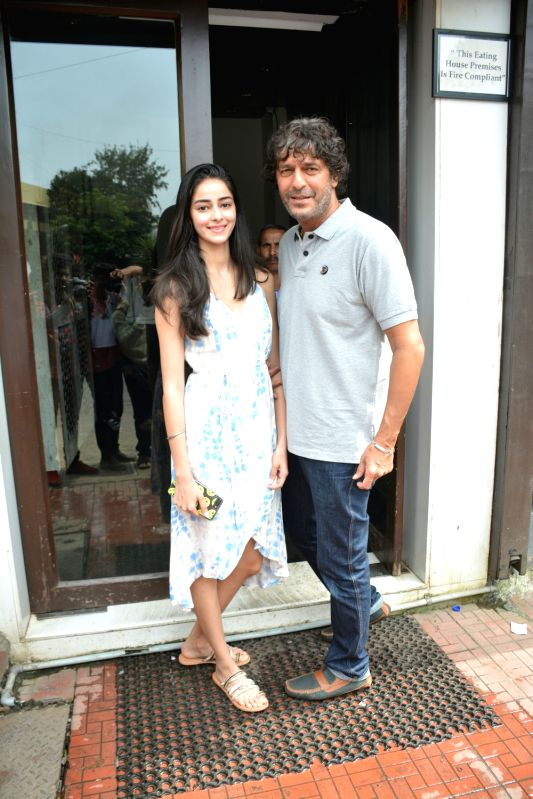 Actor Chunky Pandey with his daughter Ananya Pandey seen at Mumbai's Bandra on July 29, 2018. - Chunky Pandey and Ananya Pandey