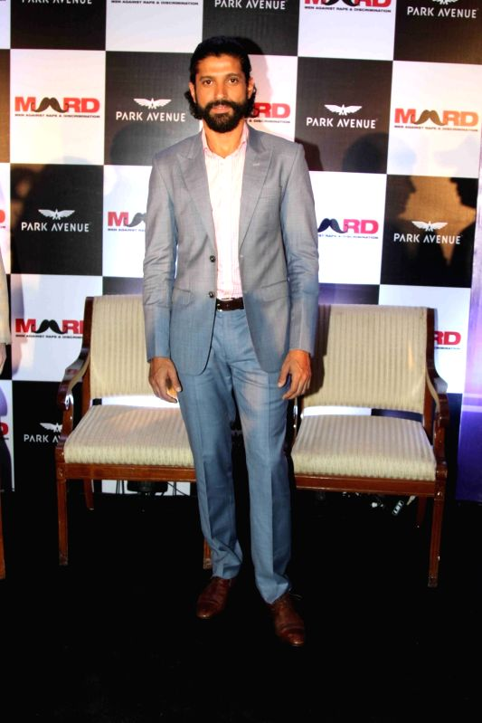 Actor cum Filmmaker Farhan Akhtar during the launch of Park avenue deodorants in association with Men against Rape and Discrimination (MARD), in Mumbai on Dec 3, 2015.