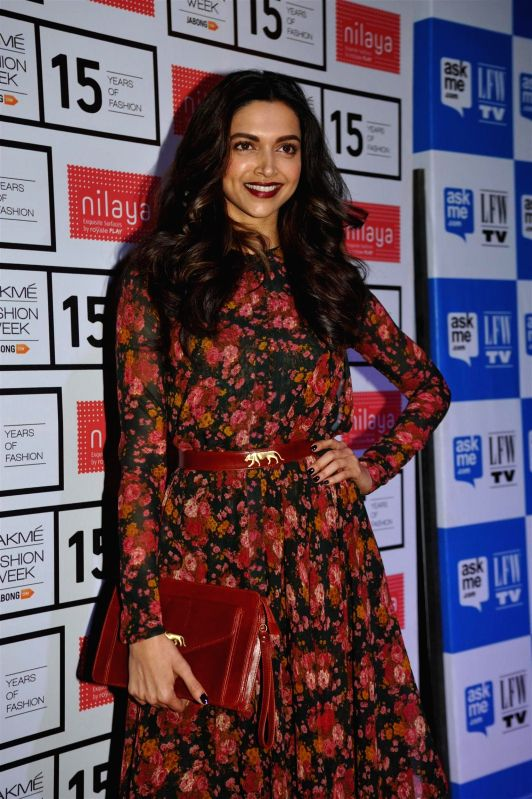 Actor Deepika Padukone during fashion designer Sabyasachi Mukherjee`s show at the Lakme Fashion Week Summer Resort 2015 in Mumbai on March 17, 2015. - Deepika Padukone