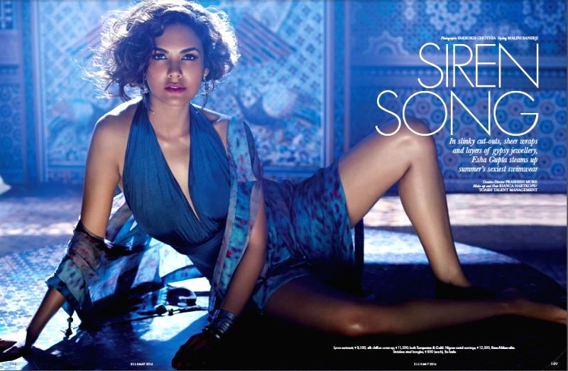 Actor Esha Gupta on the cover of Elle magazine for the May Issue.