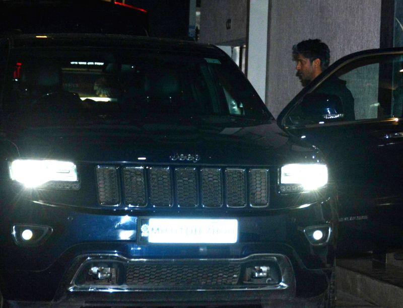 Actor Farhan Akhtar seen at Mumbai's Bandra on Aug 4, 2018. - Farhan Akhtar