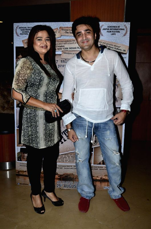 Actor Furqan Merchant and Television actor Gulfam Khan during the screening of the film Identity Card in Mumbai, on Aug. 20, 2014. - Furqan Merchant and Gulfam Khan