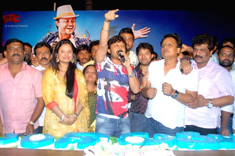Actor Ganesh celebrates his 34th birthday with his wife and others at his residence in Bangalore on July 2, 2014.